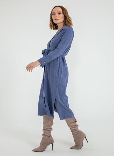 Foremia Yanı Yırtmaçlı Ceket Yaka Elbise İndigo